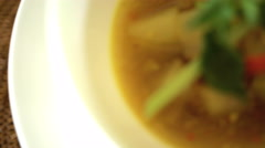Balinese healthy low calorie starter of nutritious Papaya Soup displayed in Stock Footage