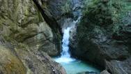 4K Alps Berchtesgaden national park Almbachklamm Gorge canyon valley waterfall Stock Footage