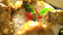 Presentation of nutritious chicken curry with healthy steamed sticky rice Stock Footage