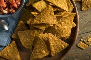 Homemade Pumpkin Tortilla Chips Stock Photos