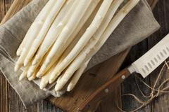 Raw Organic White Asparagus Spears Stock Photos