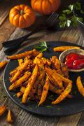 Homemade Organic Pumpkin French Fries Stock Photos