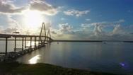 4k Aerial Epic Cinematic of Arthur Ravenel Jr. Bridge Charleston SC Stock Footage