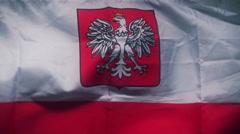 Polish flag footage Stock Footage