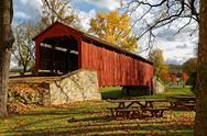 Covered Bridge in Autumn Stock Photos