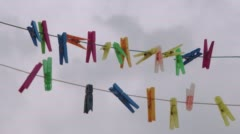 Clothespins In Grey Stock Footage