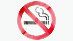 No smoking sign shaped with red and black smoke Stock Footage