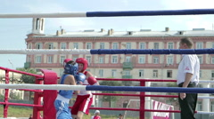 Children's boxing championship Stock Footage