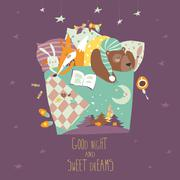 Cute animals sleeping in bed Stock Illustration