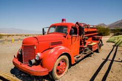 Old vintage fire truck in death valley national park Stock Photos