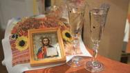 Icon of Jesus Christ, glasses, wedding handbrake Stock Footage