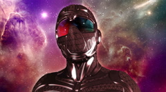 Face of armored Sci-Fi masked warrior in space Arkistovideo