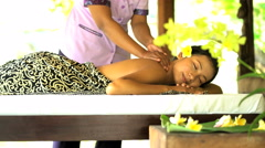 Therapeutic massage treatment by professional masseuse for cleansing and muscle Stock Footage