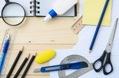 School and office stationery Stock Photos