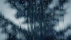 Rain Streaming Down Window Pane Dramatic Stock Footage