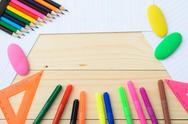 School and office supplies frame Stock Photos