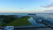 4k Cinematic Epic Aerial of Cargo Ships in Charleston SC Harbor Stock Footage