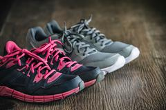 Fitness running sports equipment, sneakers sport shoes, healthy lifestyle Stock Photos