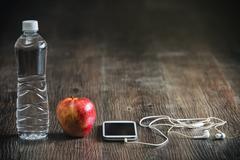 Fitness running sports equipment, water phone music towel apple Stock Photos