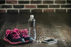 Fitness running sports equipment, sneakers water phone music, healthy lifesty Stock Photos
