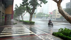 4k Extreme Wind And Rain During A Super Typhoon Megi in Street Taipei city -Dan Stock Footage