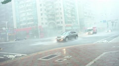 4k Extreme Wind And Rain During A Super Typhoon Megi in Street Taipei city -Dan Stock Footage