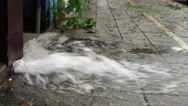 4K Explosion Of The Pipe Water in Taipei City. Water Leak Accident On Street-Dan Stock Footage
