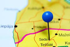 Seda pinned on a map of Lithuania Stock Photos