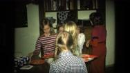1974: teenage girls birthday party indoor gathering event FORT WAYNE, INDIANA Stock Footage