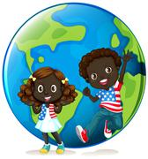 African american kids on earth Stock Illustration