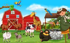 Wild animals and farm animals in farmyard Piirros