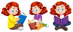Three actions of girl reading book Stock Illustration