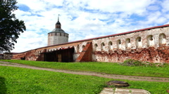 Historic walls a military fortress with the architecture of 16-17 centuries Stock Footage