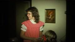 1974: indoor family scene FORT WAYNE, INDIANA Stock Footage