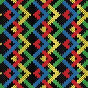 Seamless zigzag knitting blanket in bright colors Stock Illustration
