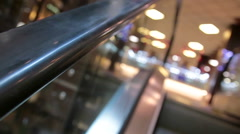 Escalator in a shopping center moving up Stock Footage