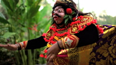 Balinese Asian magical clown mask figure used in ancient culture performance Stock Footage