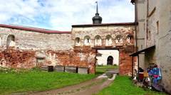 Ruins and remains of the historic fortress of kroasnogo brick Stock Footage