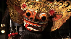 Balinese Asian magical Dragon mask figure used in ancient culture performance Stock Footage