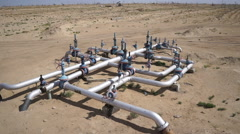 Aerial view of a oil and gas equipment,valves and pipelines 60fps Stock Footage