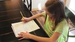Child Doing Homework HD  Stock Footage
