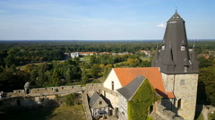 Entrance tower seen from the wall of castle Bentheim Stock Footage
