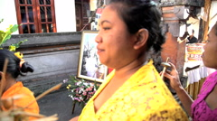 Bali - Female Balinese procession traditional wedding guests Stock Footage