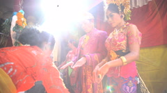 Bali - Wedding Balinese style traditional bride and groom  Stock Footage
