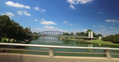 A View of Various Bridges Over Brazos River in Waco Texas Stock Footage
