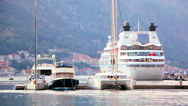 Luxury cruise ship docked in the sea marina Stock Footage