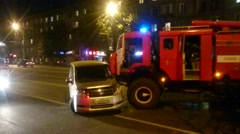 Fire truck had an accident and destroyed several cars. Stock Footage