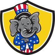 Republican Elephant Mascot Arms Crossed Shield Cartoon Stock Illustration