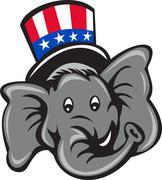 Republican Elephant Mascot Head Top Hat Cartoon Stock Illustration