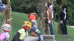 Halloween scarecrows and decorations in haunted town Stock Footage